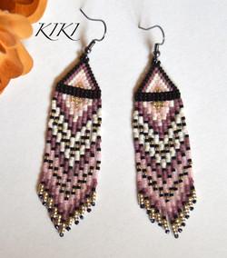 Purples long earrings