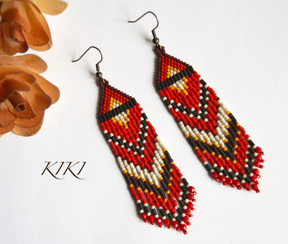 Red olive long earrings