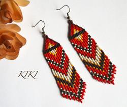 Red olive long earrings