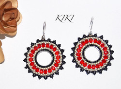 Red black brick earrings
