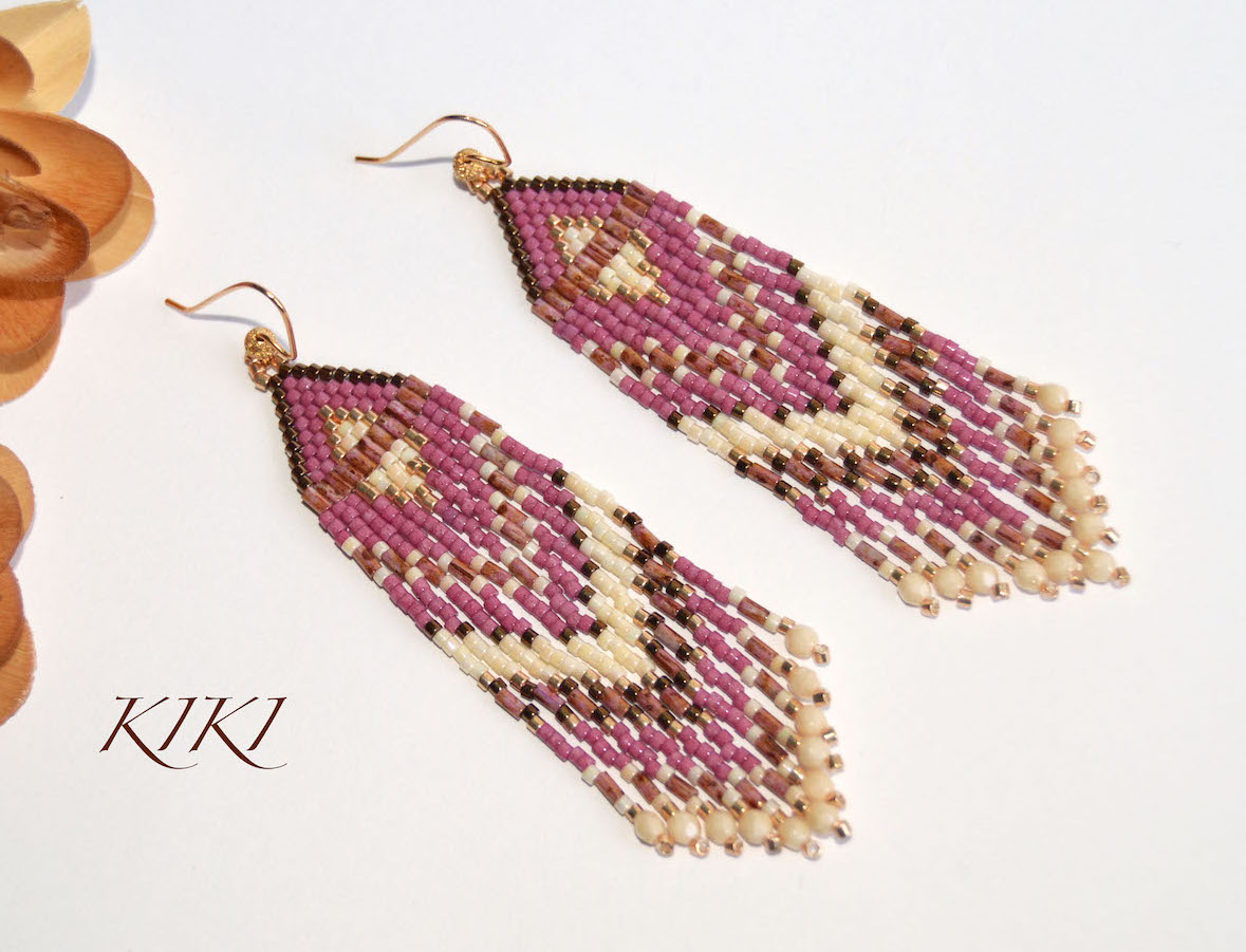 Pink gold long earrings