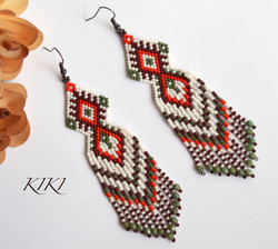 Ethnic olive red long