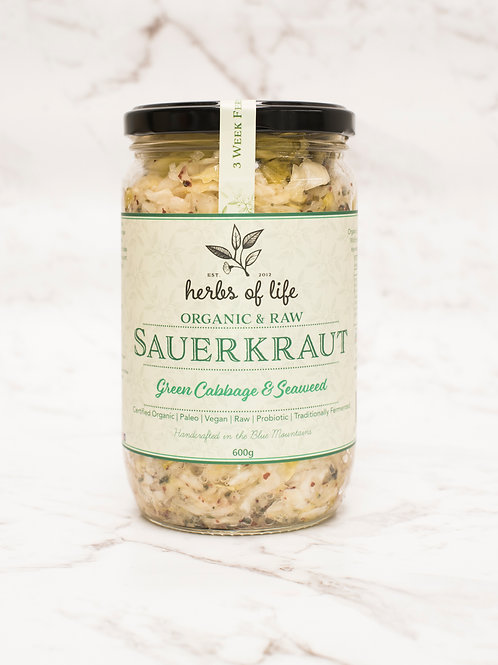 Green Cabbage Sauerkraut with Seaweed 600g
