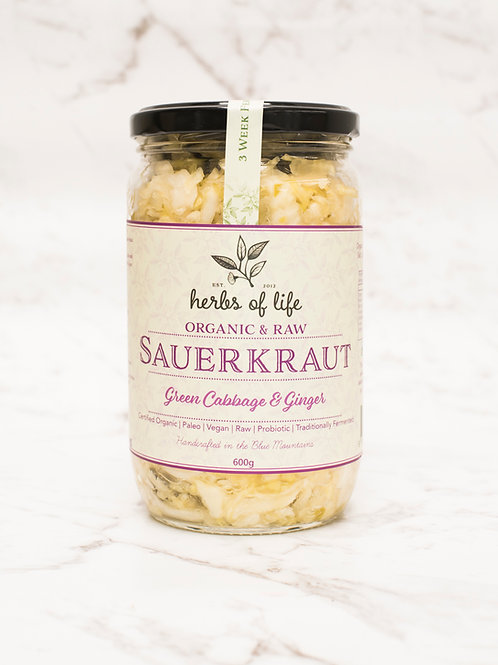 Green Cabbage & Ginger Sauerkraut