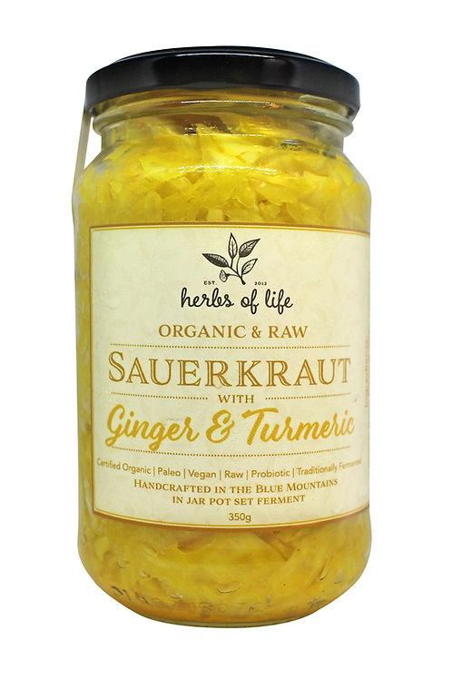 Green Cabbage Sauerkraut with Turmeric & Ginger 350g