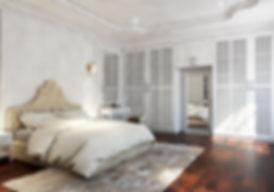 A Traditional Bedroom with white color design,Penag ,(Skilled decor & Design)