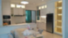 aston villa,buki mertajam penang, simple euro design kitchen with white spray paint jatuh door (Skilled decor)