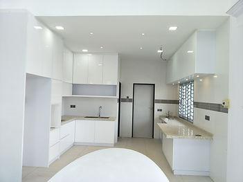 Whole White Kitchen With aluminium Glass door, penang , skilled decor &design
