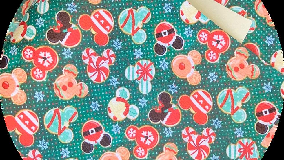 Christmas  Mickey ~ Green ~ Luxe Grain Litchu