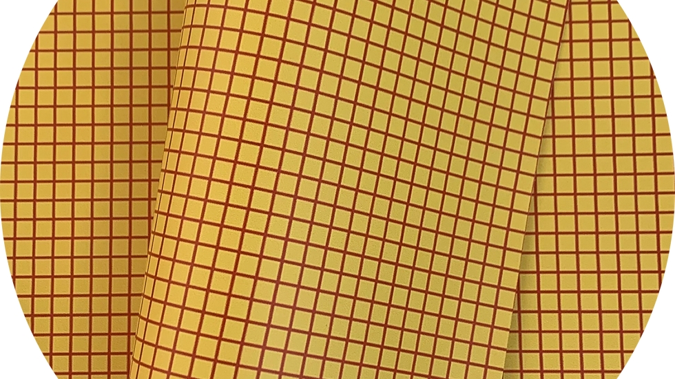 Smooth Leatherette ~ Woody ~ yellow ~ Squares