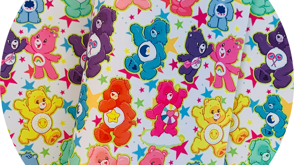 Smooth Leatherette ~ Care Bears ~ White background