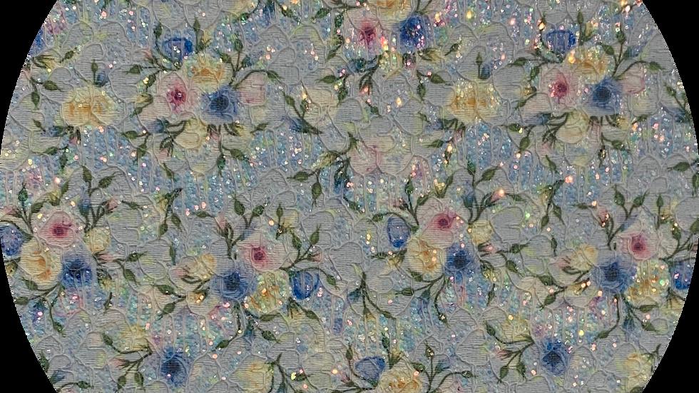 Floral Glitter & Lace ~ Blue