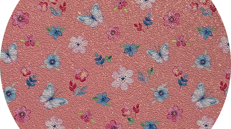 Butterflies ~ Peachy Pink ~ Soft Luxe Leatherette ~ 0.85mm Thickness
