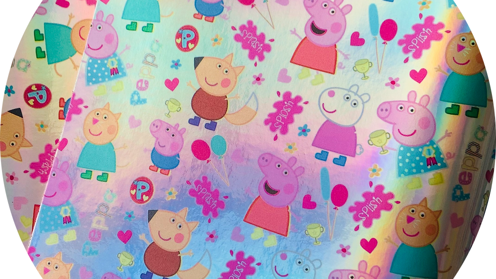 Peppa Pig ~ Smooth Leatherette ~ Sliver Holographic Background