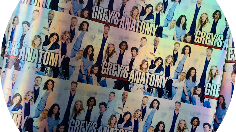 Greys Anatomy ~ Silver Holographic Background ~ Smooth Leatherette