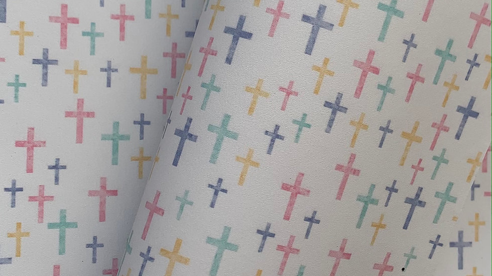 Smooth Faux Leatherette ~ Pastel Crosses