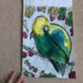 Parrot picture in progress (pen and inks