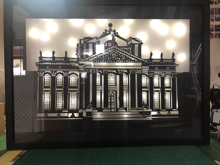 "20"" x 27"" Blenheim Palace, hand cut silhouette (remote control, colour changing)"