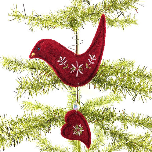 Bird with Heart - Wool & Wire Ornament