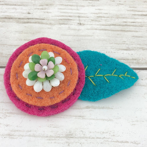 Large Wool Hair Clip - Rainbow Sherbet