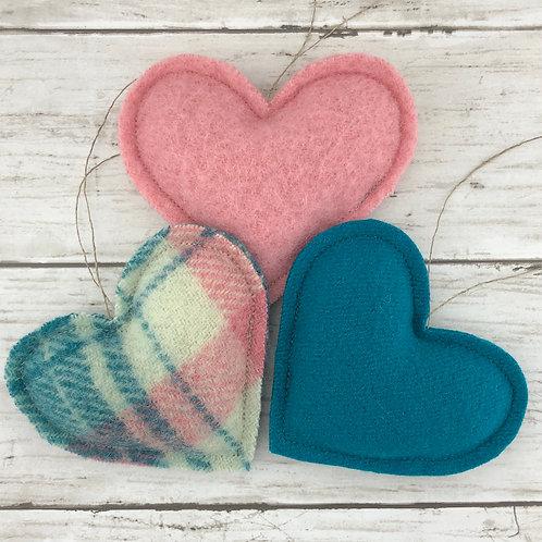 Trio of Heart Ornaments