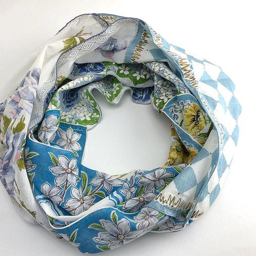 Hankie Infinity Scarf - Blue with Diamond Print