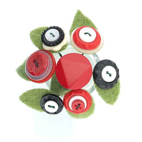 Button Blossoms - Red & Black