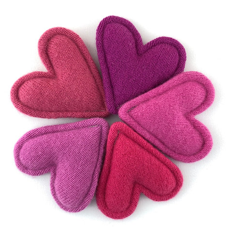 Cashmere Pocket Hearts Set of 5 PINKS