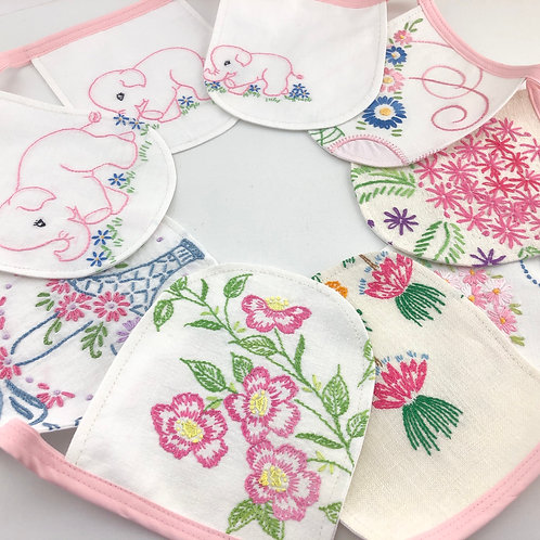 6' Banner - Vintage Embroidery Pink Elephants