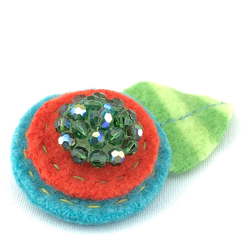 Large Wool Hair Clip - Emerald Sparkle