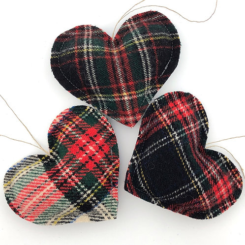 Trio of Wool Heart Ornaments
