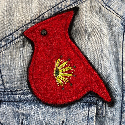 Cardinal Felted Wool Pin
