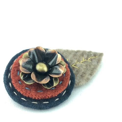 Large Wool Hair Clip - Copper Flower