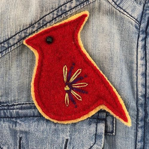 Cardinal Felted Wool Pin