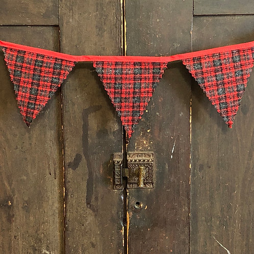 3' Plaid Wool Banner Red & Gray