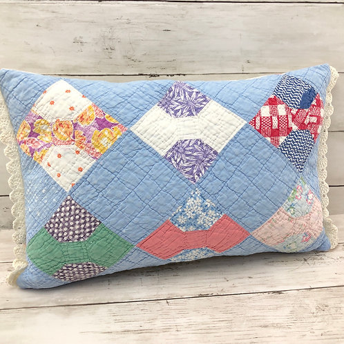 """Bow Tie Quilt Pillow - 11"""" x 18"""""""