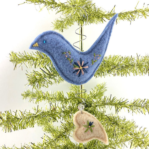 Bird with Heart Wool & Wire Ornament