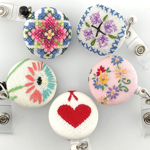 Badge Reel with Vintage Embroidery