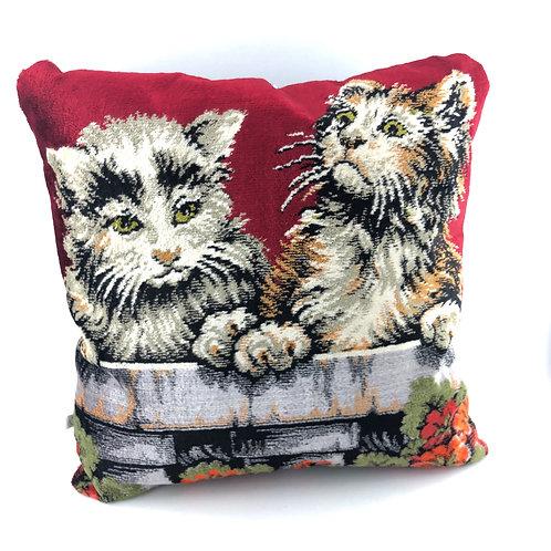 Vintage Tapestry Pillow - Kittens