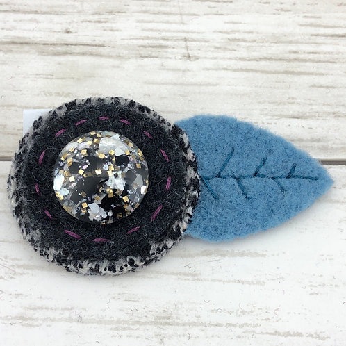 Large Wool Hair Clip - Charcoal Sparkle
