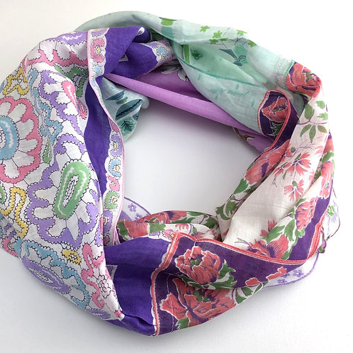 Hankie Infinity Scarf - Purple with Aqua