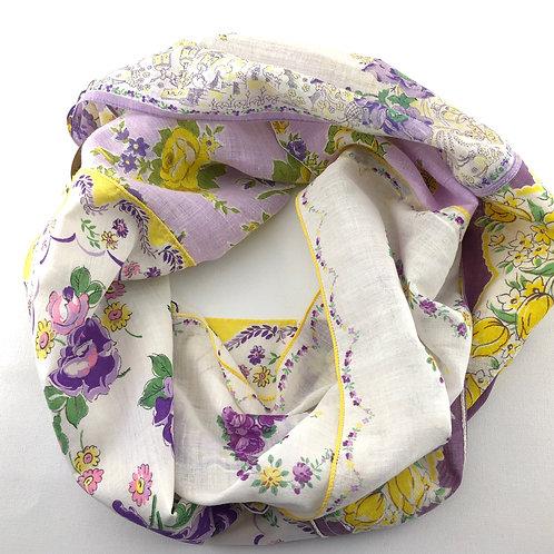 Hankie Infinity Scarf - Yellow and Purple