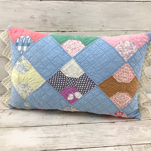 "Bow Tie Quilt Pillow - 11"" x 18"""