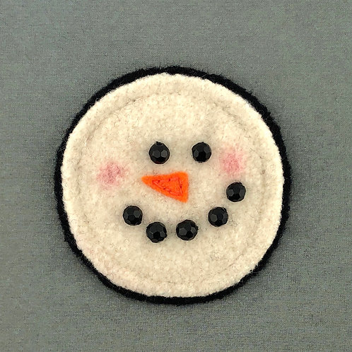 Snowman Felted Wool Pin