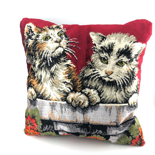 Vintage Tapestry Pillow - Kittens