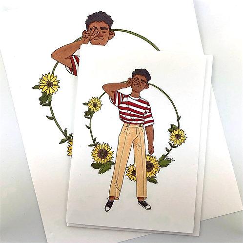 Sunflower Boy Notecard or Print