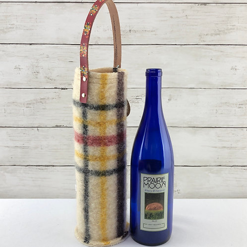 Wine Carrier - Plaid Blanket