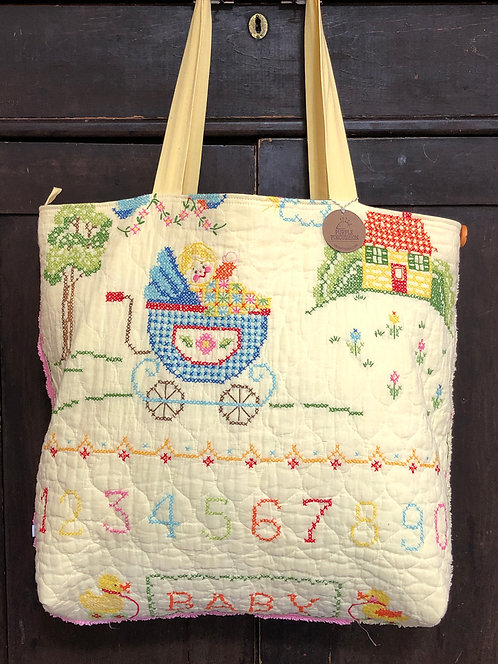 Farmer Tote - Baby Buggy Cross Stitch