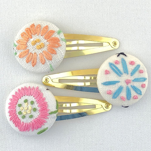 Vintage Embroidery Hair Clip Trio - Group 1