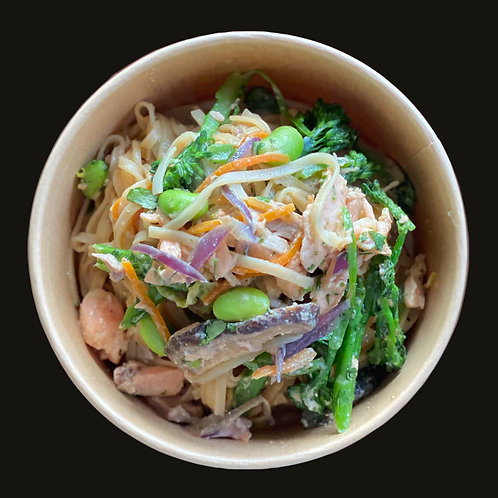 Salmon Teriyaki with Asian Vegetables and Rice Noodles